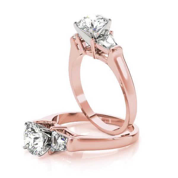Large Baguette Diamond Engagement Ring Rose Gold