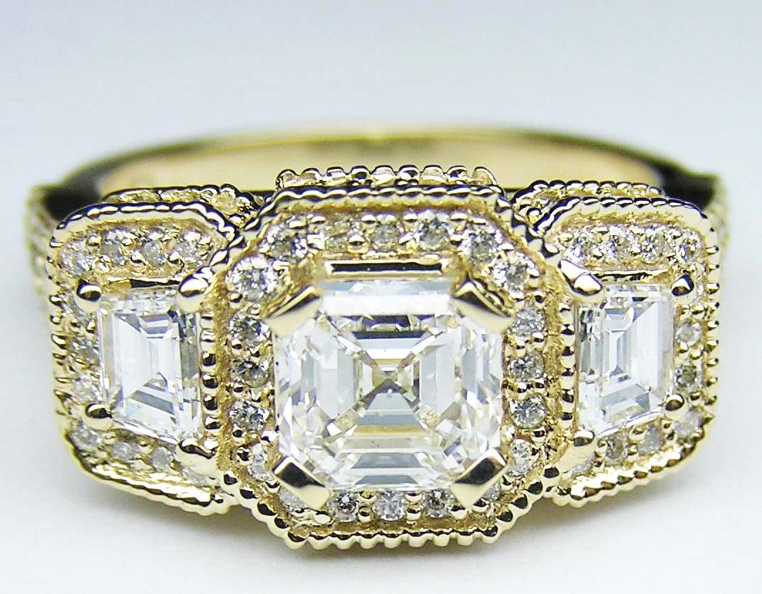 Asscher Cut Diamond Vintage Style Engagement Ring Trapezoids side stones in 14K Yellow Gold