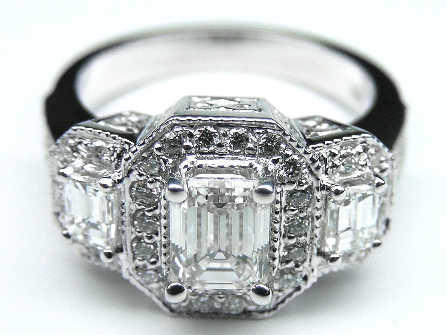 Vintage Style Three Stone Emerald Cut Diamond Engagement Ring in 14K White Gold