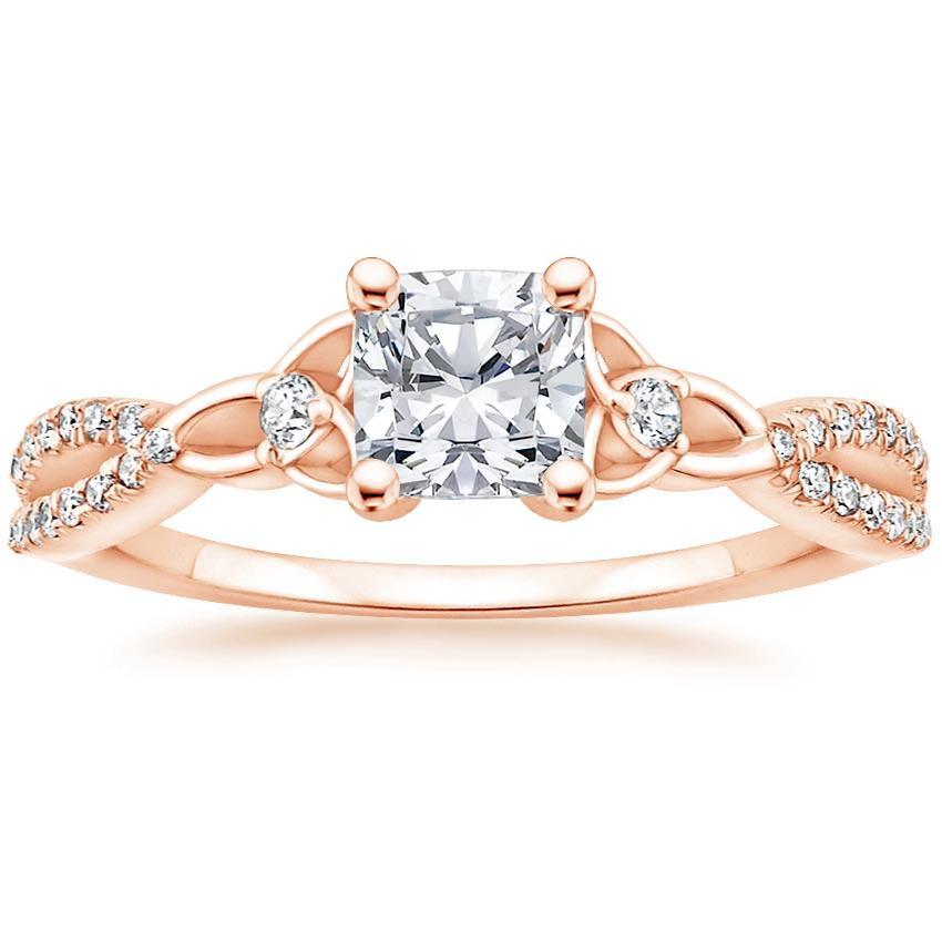 Celtic Love Knot Cushion Diamond Ring Rose Gold