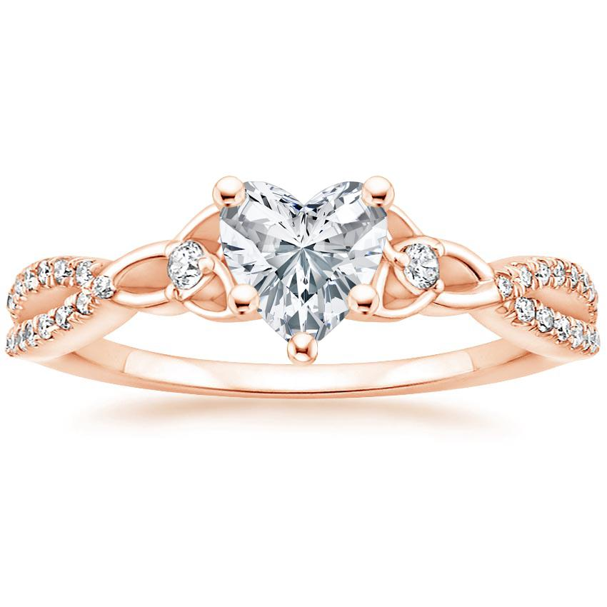 Celtic Love Knot Heart Diamond Ring Rose Gold
