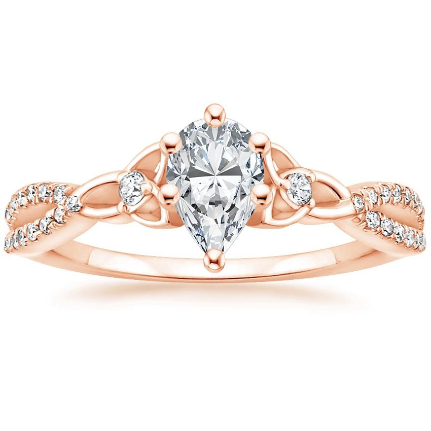 Celtic Love Knot Pear Diamond Ring Rose Gold