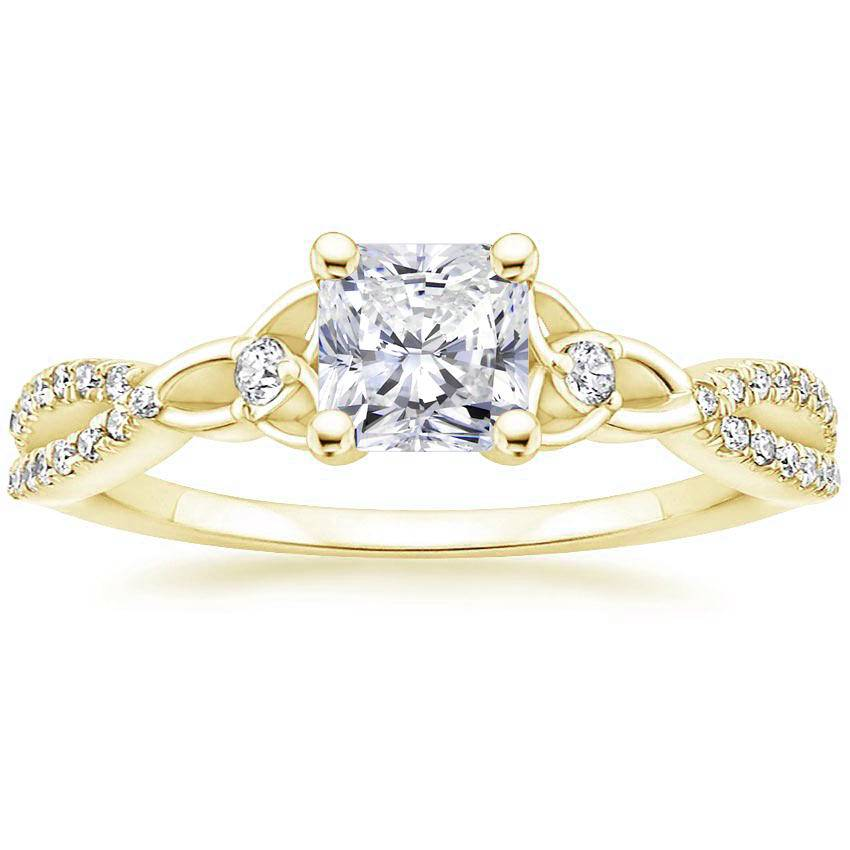 Celtic Love Knot Radiant Diamond Ring Yellow Gold