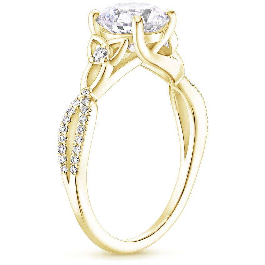 Celtic Love Knot Asscher Diamond Ring Yellow Gold
