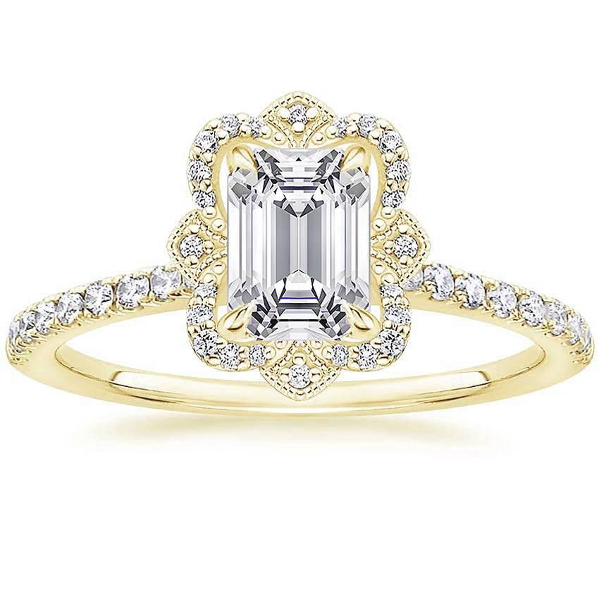 Royal Crown Halo Emerald Diamond Ring Yellow Gold