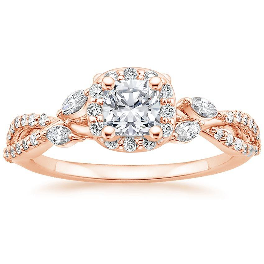 Floral Vine Halo Cushion Diamond Ring Rose Gold