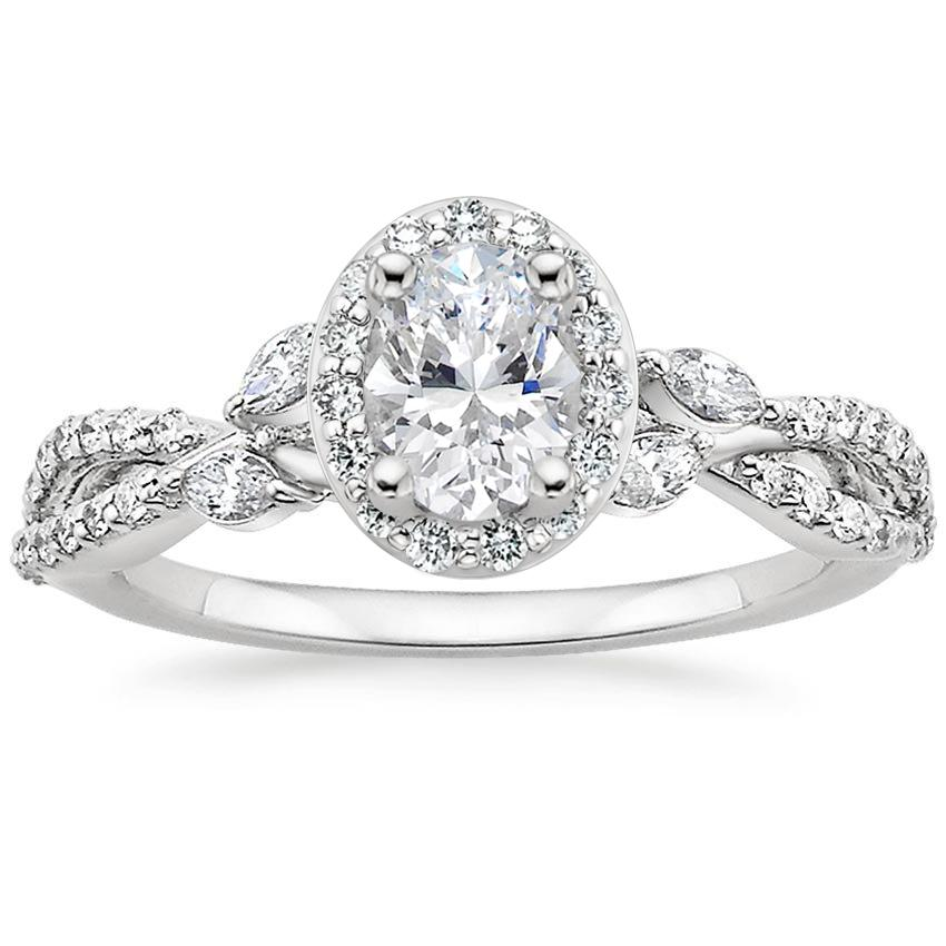 Oval Floral Vine Halo Engagement Ring