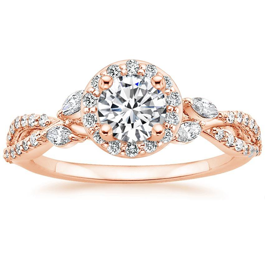 Floral Vine Halo Diamond Ring Rose Gold