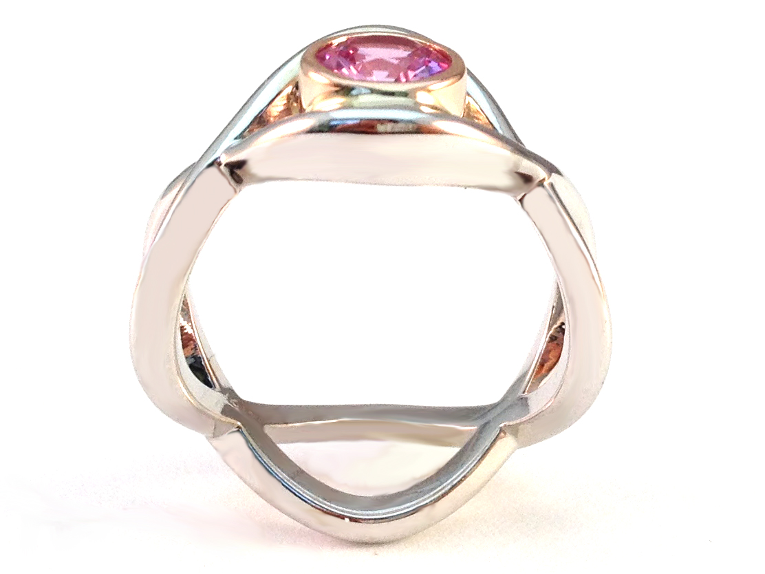 Round Pink Sapphire Love Engagement Ring 0.85 tcw.