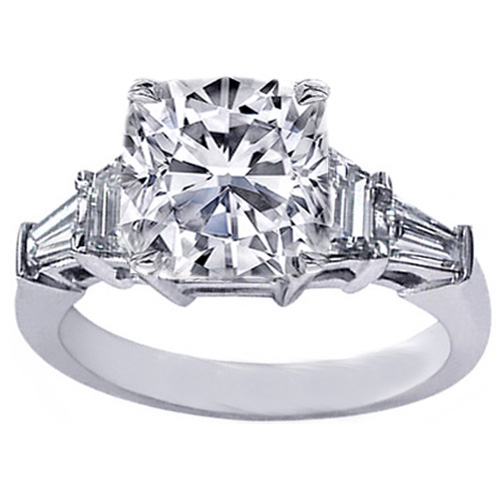 Cushion Cut Diamond Engagement Ring trapezoids and baguettes 0.60 tcw.