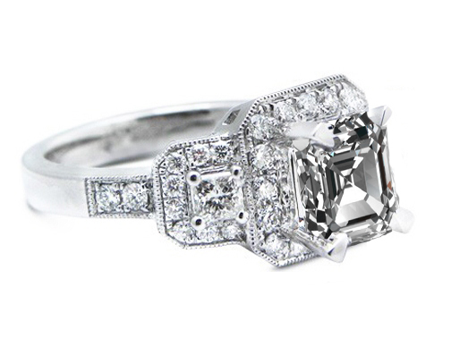Vintage Style Asscher Diamond Engagement Ring Setting in Platinum 0.90 tcw.