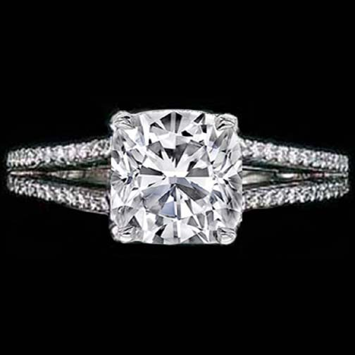 Cushion Diamond Split Band Engagement Ring Choice of Maria Sharapova in 14K white gold 0.60 tcw.