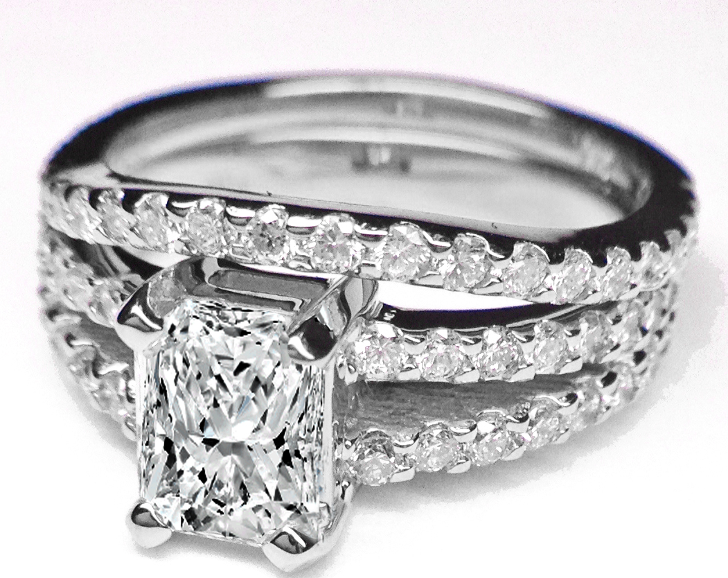 Radiant Cut Diamond Double Band Engagement Ring & Matching Wedding Band, 0.91 tcw.