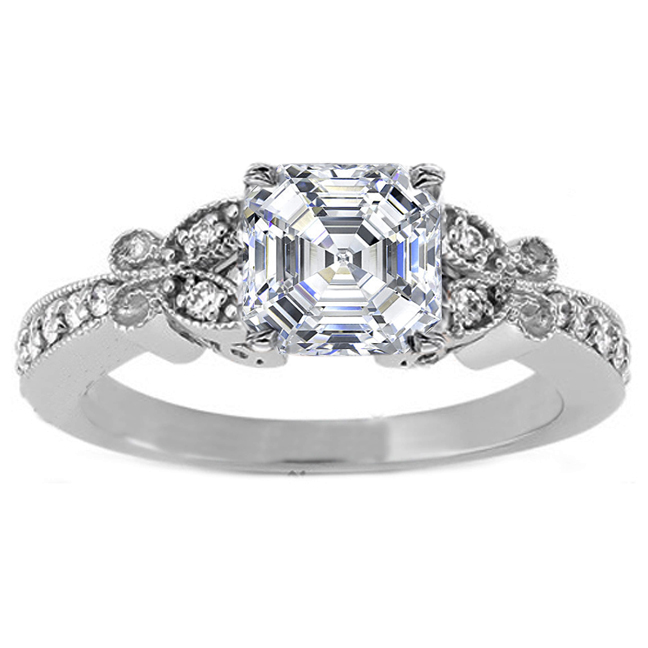 Asscher Diamond Butterfly Vintage Engagement Ring In 14K White Gold