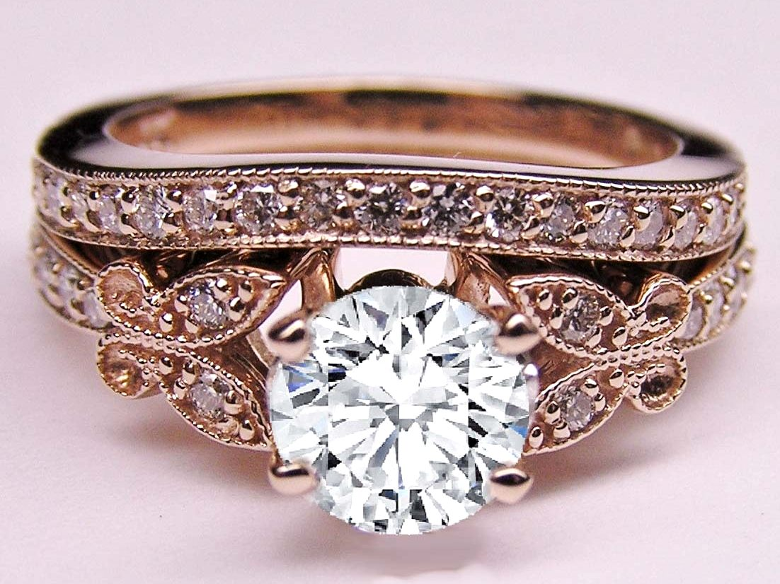 Diamond Butterfly Vintage Engagement Ring & Matching Wedding Band In Rose Gold