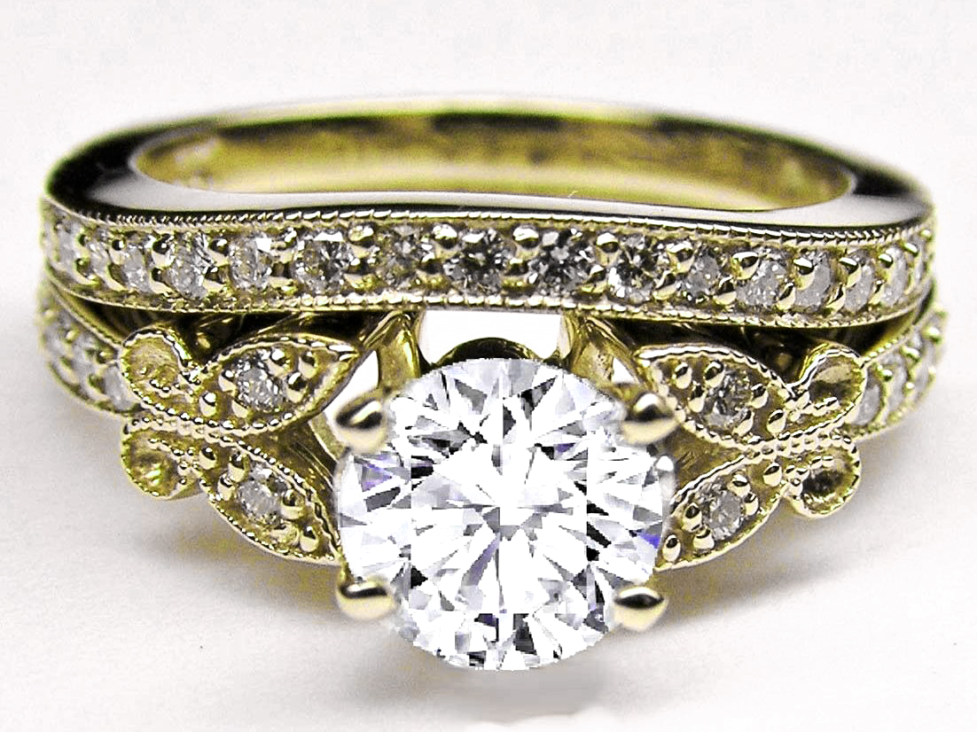 Diamond Butterfly Vintage Engagement Ring & Matching Wedding Band In Yellow Gold
