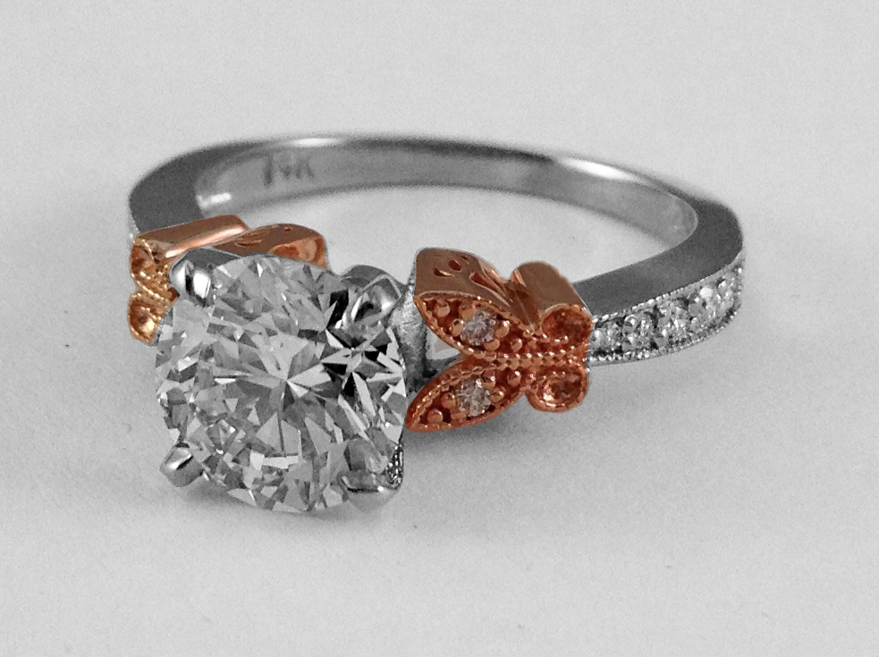 Two Tone Butterfly Vintage Engagement Ring