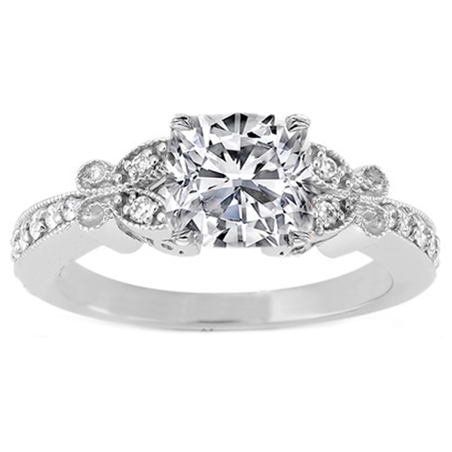 Cushion Diamond Butterfly Vintage Engagement Ring In 14K White Gold