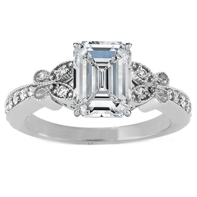 Emerald Cut Diamond Butterfly Vintage Engagement Ring  In 14K White Gold