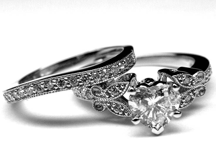 Heart Shape Diamond Butterfly Vintage Engagement Ring  & Matching Wedding Band In White Gold