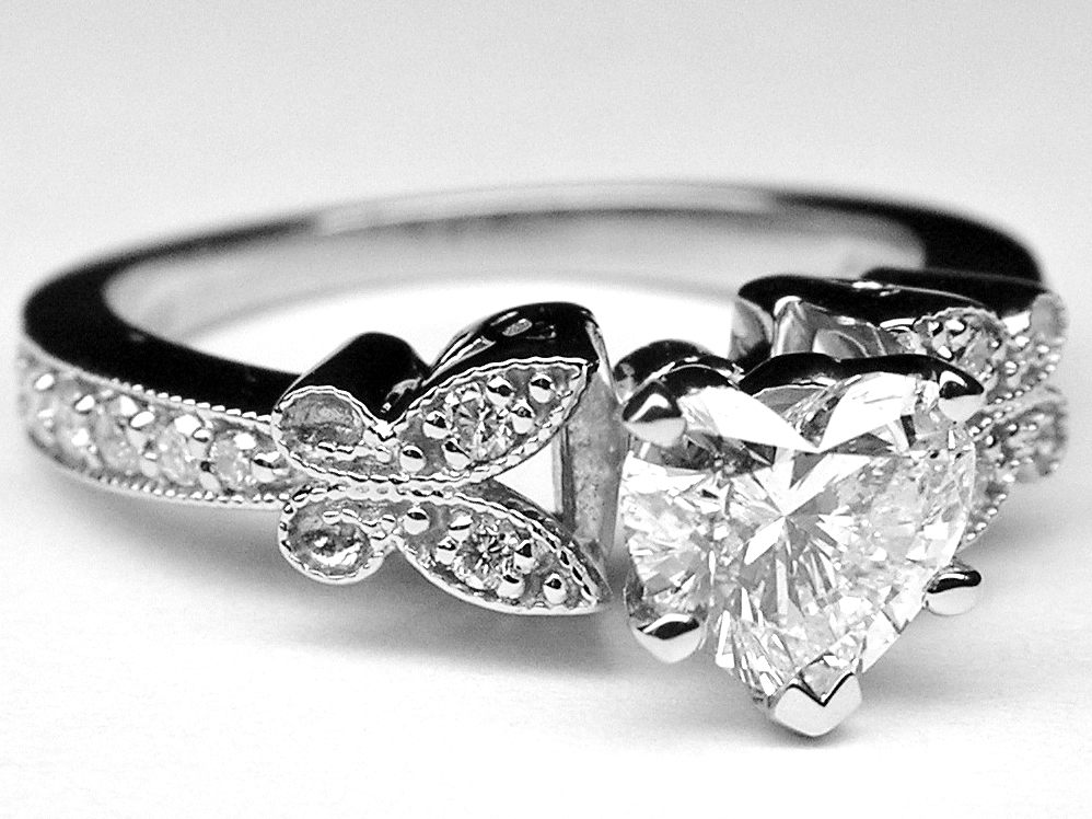 Heart Shape Diamond Butterfly Vintage Engagement Ring  In 14K White Gold