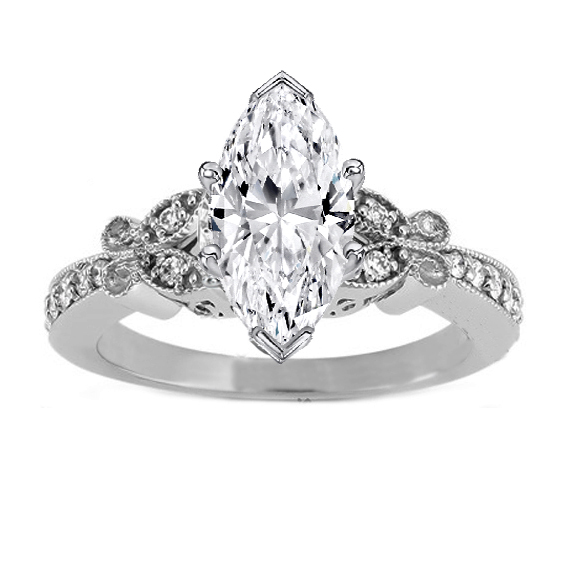 Marquise Diamond Vintage Butterfly Engagement Ring  In 14K White Gold