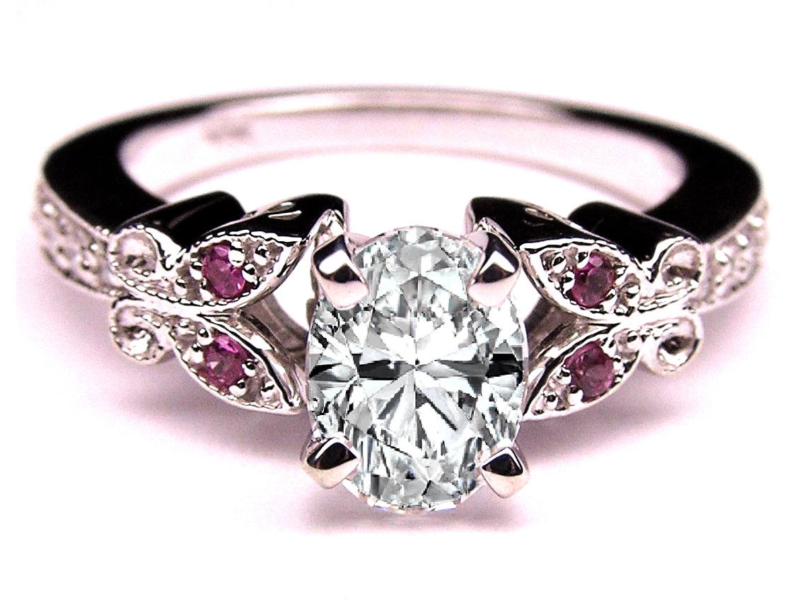 Oval Diamond Butterfly Engagement Ring Pink Eyes In 14K White Gold
