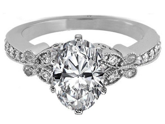 Oval Diamond Butterfly Vintage Engagement Ring setting In 14K White Gold