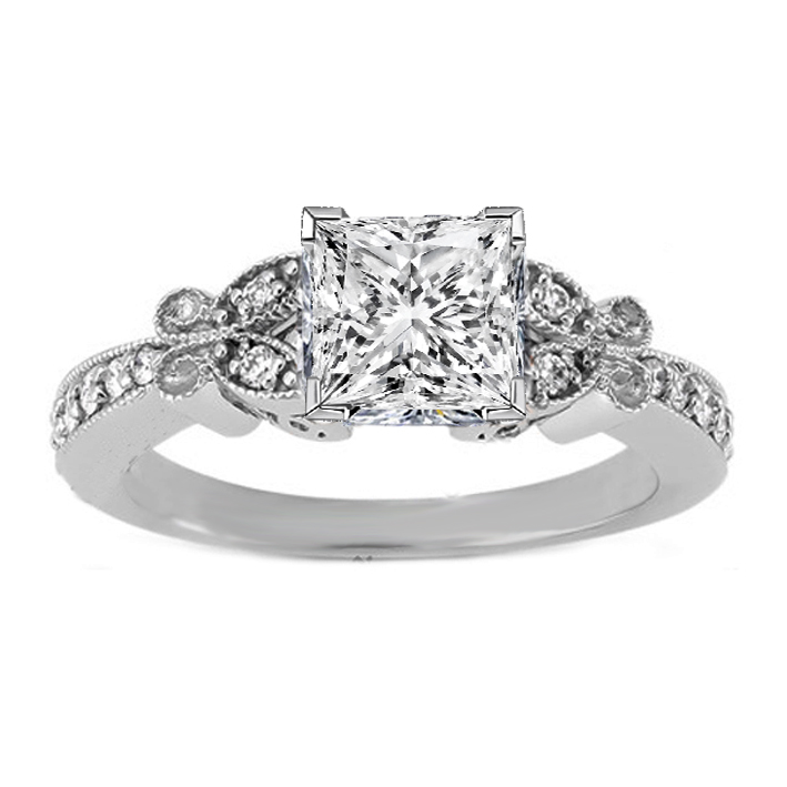 Princess Diamond Vintage Butterfly Engagement Ring  In 14 Karat White Gold