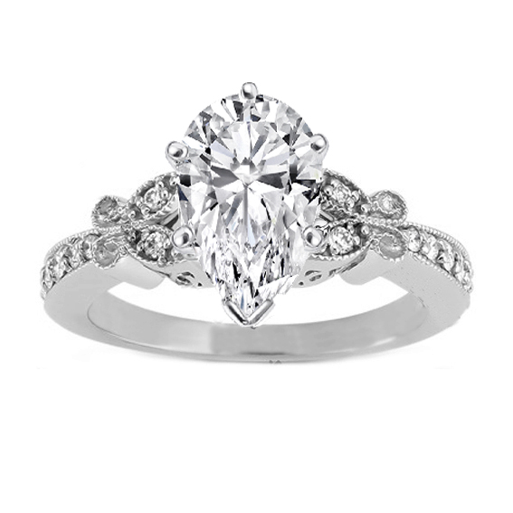Pear Shape Diamond Vintage Butterfly  Engagement Ring In 14K White Gold