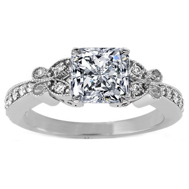 Radiant Diamond Vintage Butterfly Engagement Ring  In 14K White Gold