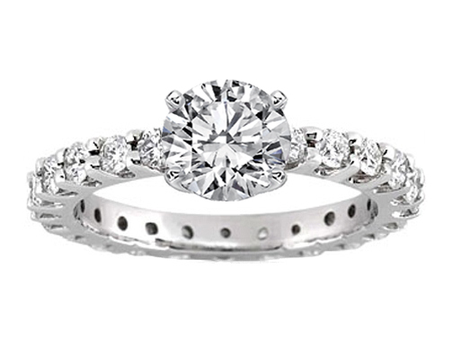 Eternity Diamond Engagement Ring 0.72 tcw. In 14K White Gold