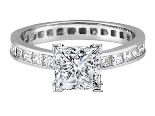 Platinum Princess Diamond Channel Set Eternity Engagement Ring 3.06 tcw.