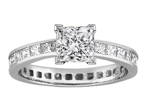 Platinum Princess Diamond Eternity Engagement Ring & matching wedding band Bridal Set 6.29 tcw.