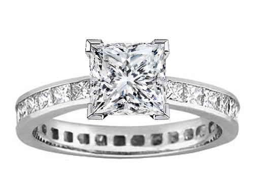 Princess Diamond Channel Set Eternity Engagement Ring 3.06 tcw. In 14K White Gold