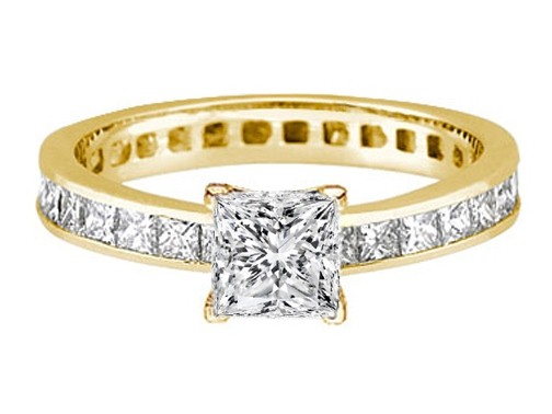 Princess Diamond Channel Set Eternity Engagement Ring 3.06 tcw. In 14K Yellow Gold