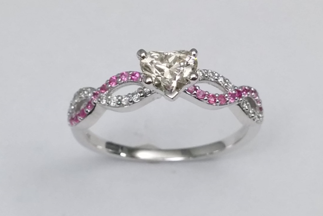 Heart Shape Diamond & Pink Sapphire Infinity Engagement Ring in 14K White Gold