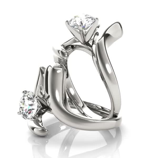 Swirl LI Solitaire Engagement Ring in Platinum