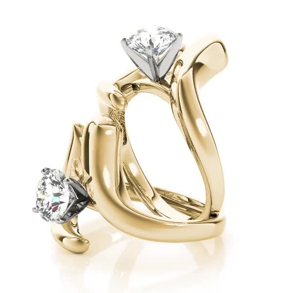 Swirl LI Solitaire Engagement Ring in Yellow Gold