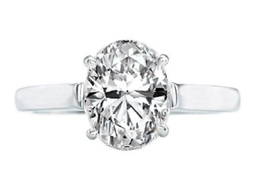 Classic Solitaire Oval Diamond Contour Engagement Ring