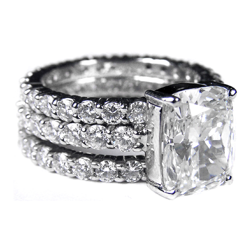 Cushion Diamond Engagement Ring & matching wedding band Bridal Set Eternity Diamond band 3.20 tcw. In 14K White Gold