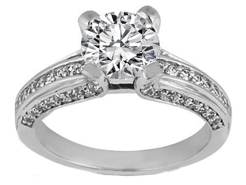 Bridge Diamond Engagement Ring with Matching Wedding Band 1.20 tcw. in 14K White Gold