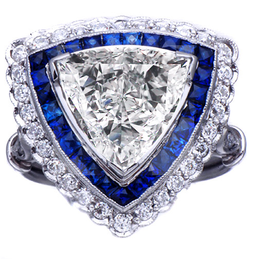 Trillion Diamond & Sapphire Edwardian Era Engagement Ring 1.7 tcw. In 14K White Gold