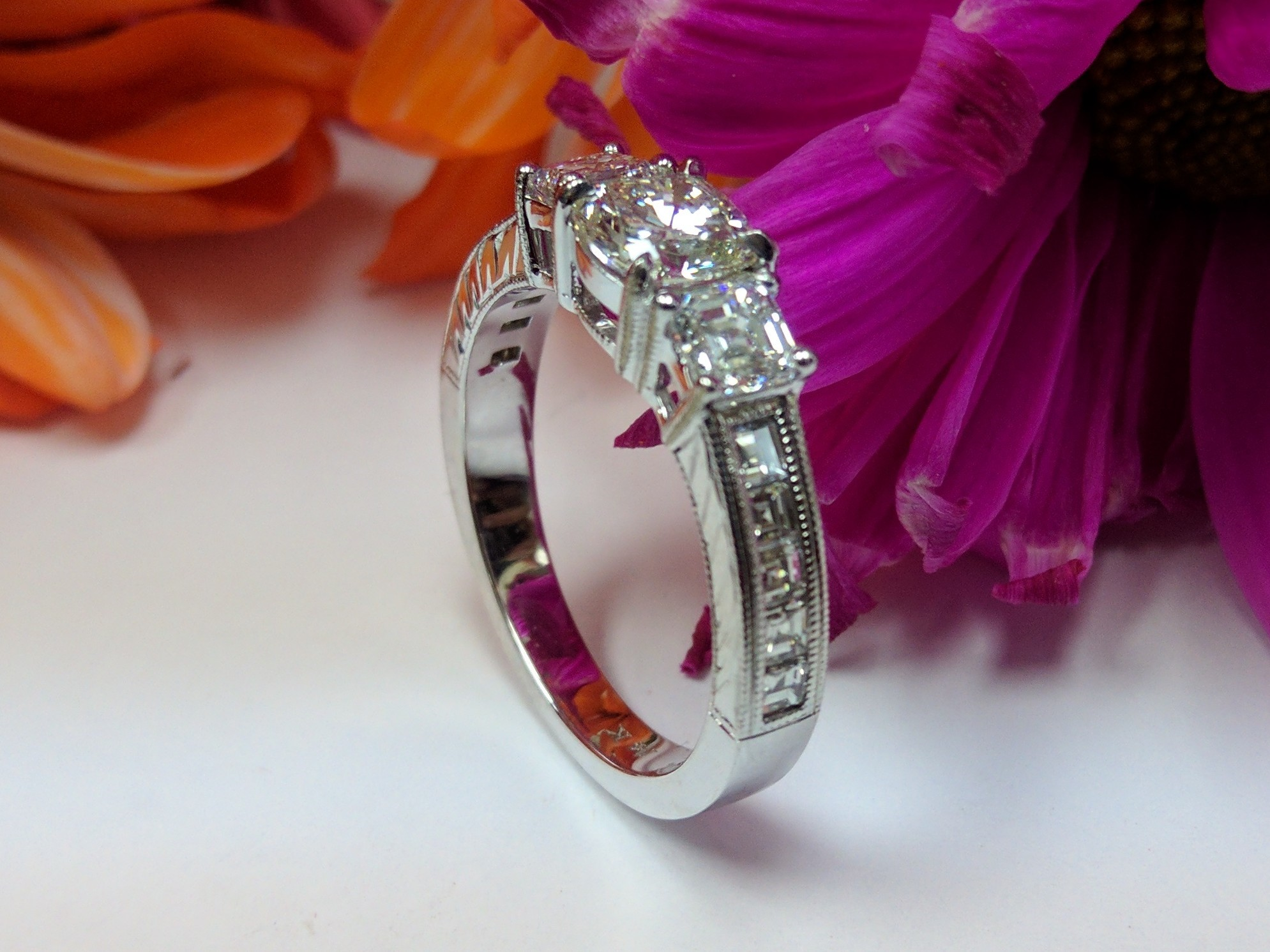 Vintage Three Stone Cushion - Asscher Diamond Engagement Ring, Engraved Band