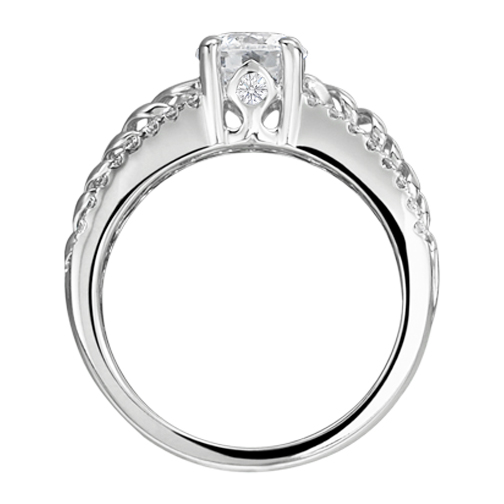 Split Band Double Helix Diamond Engagement Ring 0.70 tcw. In 14K White Gold