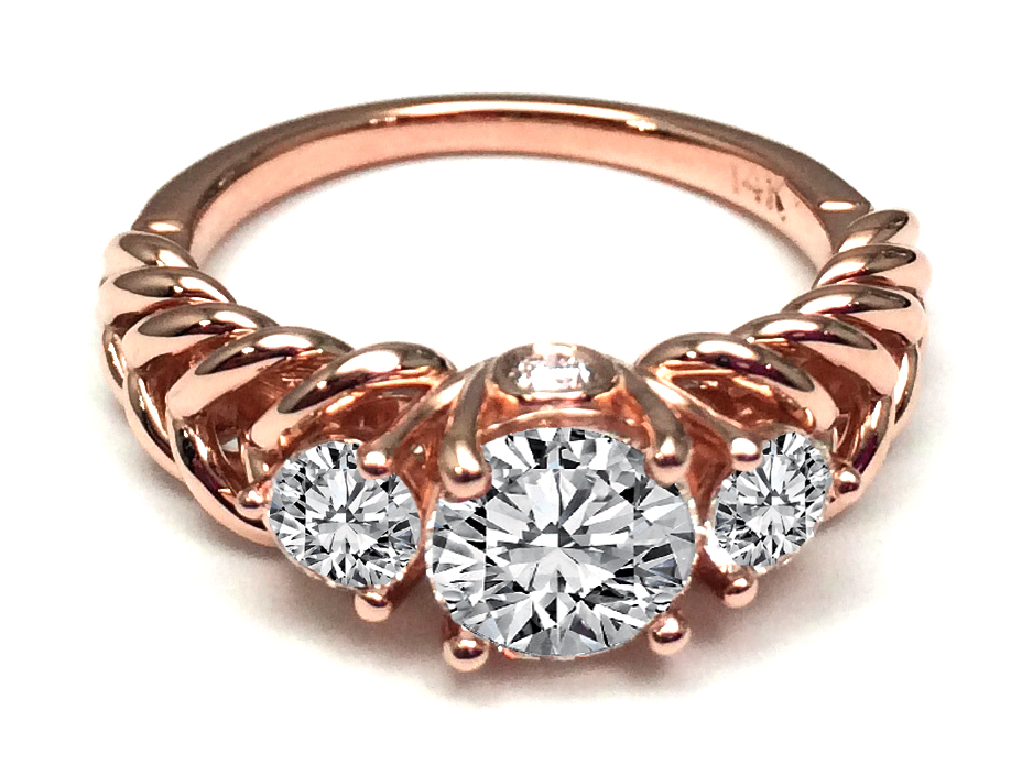 Three Stone Double Helix Diamond Engagement Ring 0.56 tcw. 14K Rose Gold