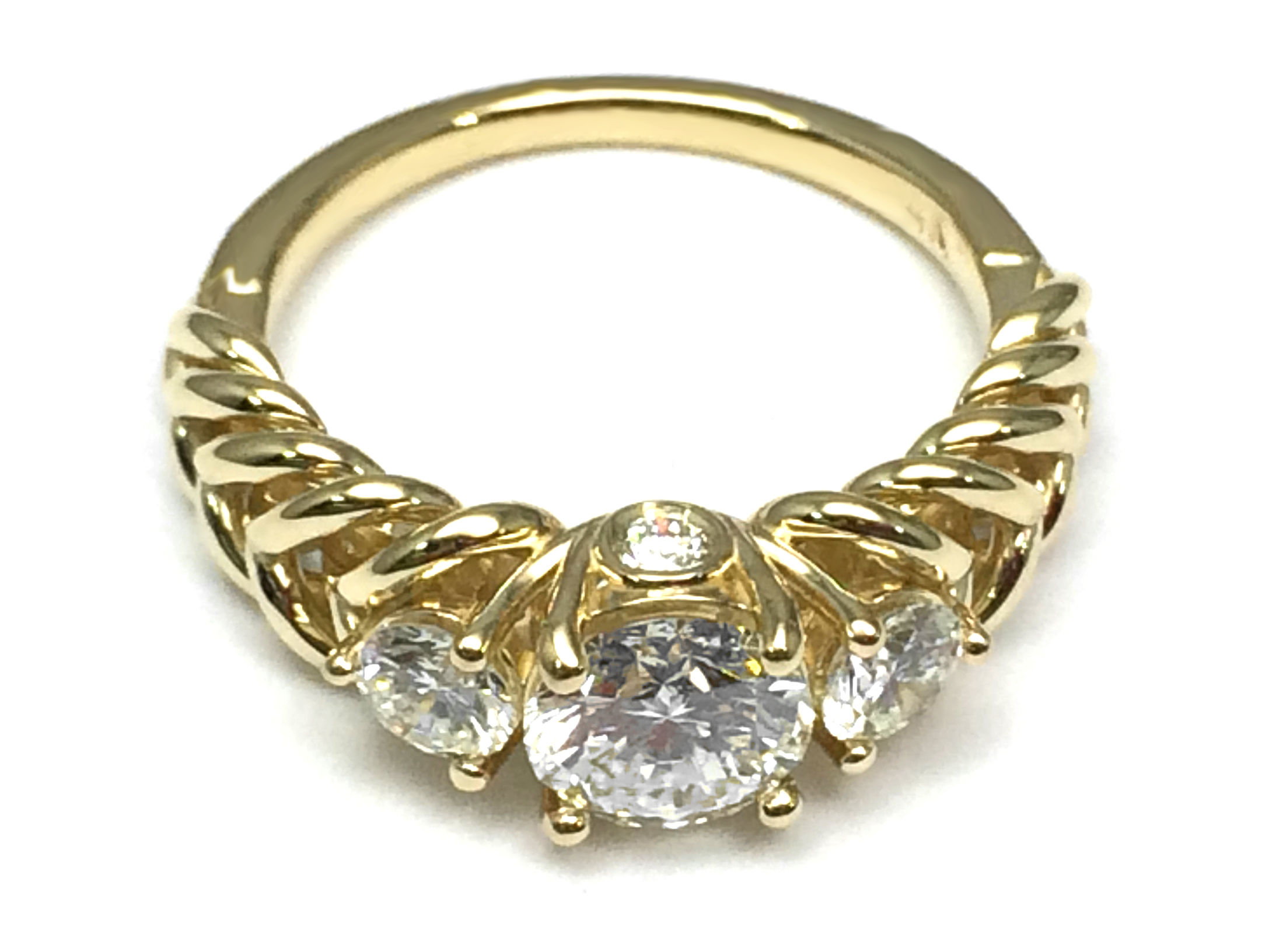 Three Stone Double Helix Diamond Engagement Ring 0.56 tcw. In 14K Yellow  Gold