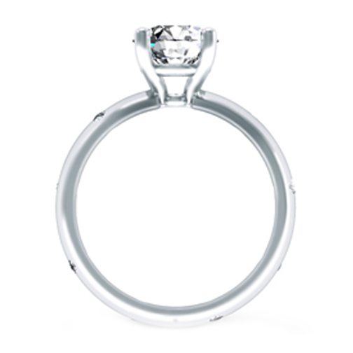 Etoil Eternity Bezel Diamond Engagement Ring in 14K White Gold 0.18 tcw.