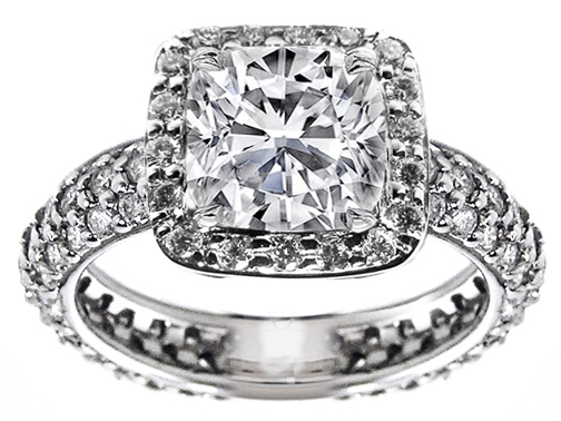 Large Cushion Diamond Eternity Etoil 3 row pave Engagement Ring 1.5 tcw in 14K White Gold