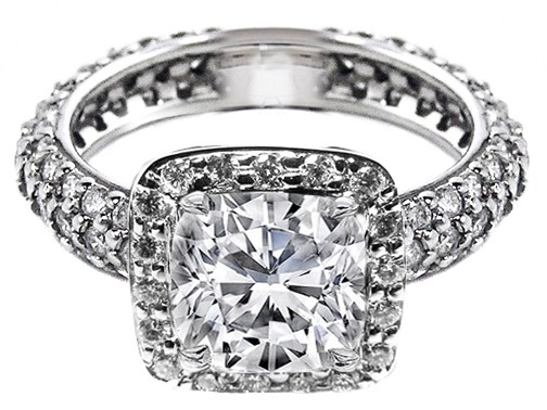 Large Cushion Diamond Eternity Etoil 3 row pave Engagement Ring, 1.5 tcw